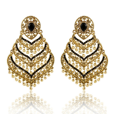 Gold Finish layered Spade Shape Earrings with Black Stones - The Ethnic Fix - Dubai - UAE