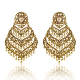 Gold Finish layered Spade Shape Earrings with Golden Stones - The Ethnic Fix - Dubai - UAE