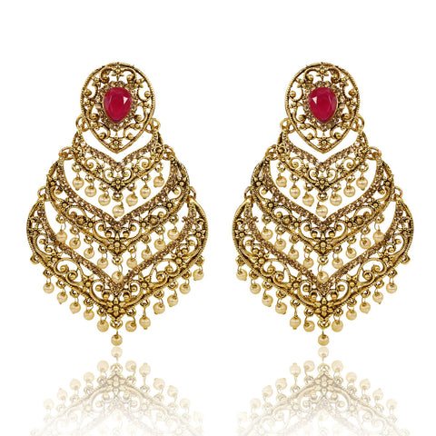 Gold Finish layered Spade Shape Earrings with Pink and Golden Stones - The Ethnic Fix - Dubai - UAE