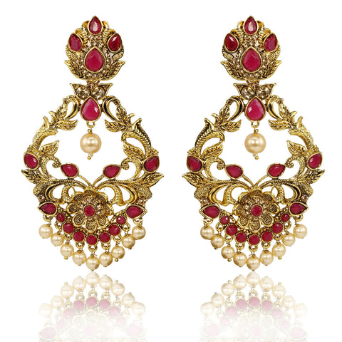 Gold Finish Chandelier Earrings with Pink Stones - The Ethnic Fix - Dubai - UAE