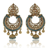 Gold Finish Floral Leaf Top Dangler Earrings with Golden and Blue Stones - The Ethnic Fix - Dubai - UAE