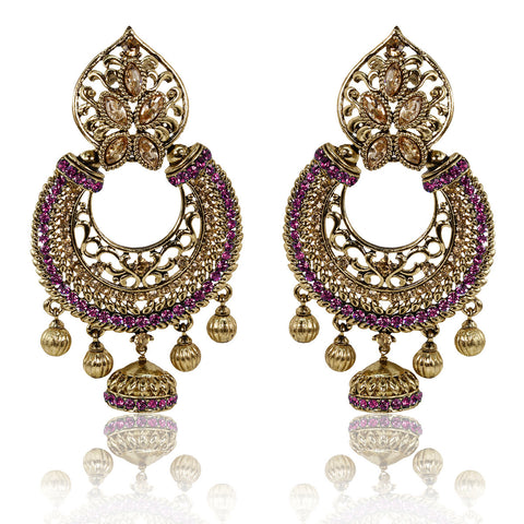 Gold Finish Floral Leaf Top Dangler Earrings with Golden and Pink Stones - The Ethnic Fix - Dubai - UAE
