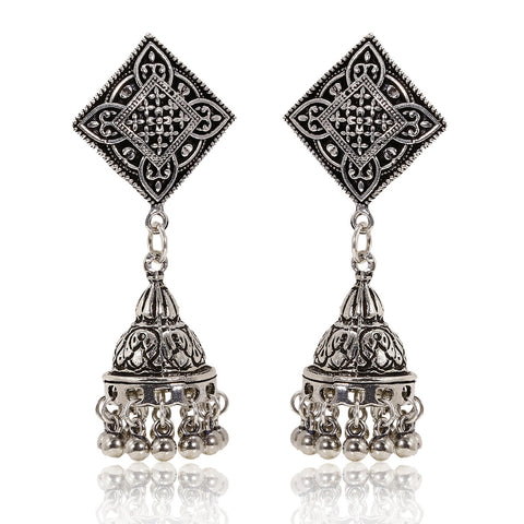 Oxidised Silver Diamond Shape Mughal Jhumki Earrings - The Ethnic Fix - Dubai - UAE