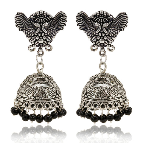 Oxidised Silver Double Peacock Top Jhumki Earrings - The Ethnic Fix - Dubai - UAE