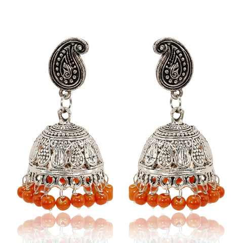 Oxidised Silver Paisley Jhumki Earrings with Plain Orange Beads - The Ethnic Fix - Dubai - UAE
