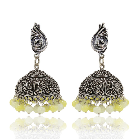 Oxidised Silver Jhumki Earrings with Lemon Yellow Beads - The Ethnic Fix - Dubai - UAE