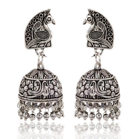 Oxidised Silver Peacock Top Jhumki Earrings - The Ethnic Fix - Dubai - UAE