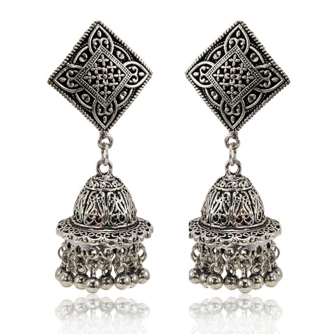 Oxidised Silver Diamond Shaped Top Bordered Jhumki Earrings - The Ethnic Fix - Dubai - UAE