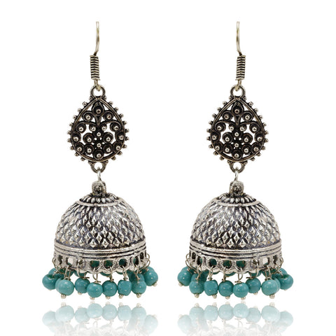 Oxidised Silver Dotted Drop Earrings with Plain Blue Beads - The Ethnic Fix - Dubai - UAE
