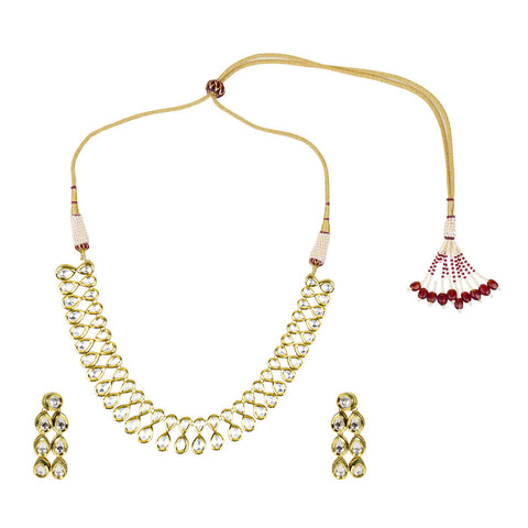 Gold Finish 2-Liner Kundan Set - The Ethnic Fix - Dubai - UAE