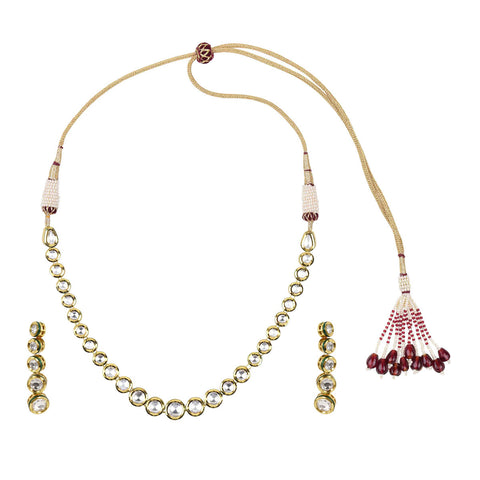 Gold Finish 1-Liner Kundan Set - The Ethnic Fix - Dubai - UAE