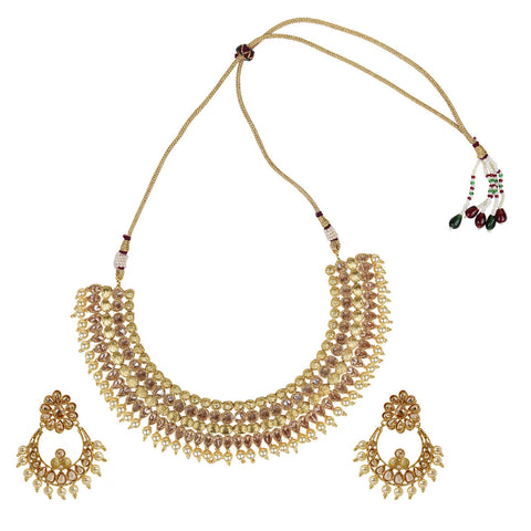 Gold Finish Polki Stone & Pearl Set - The Ethnic Fix - Dubai - UAE