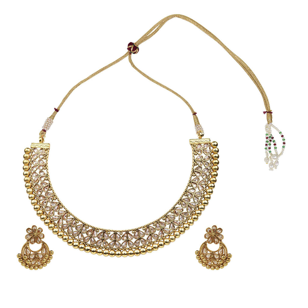 Gold Finish Polki Matar Choker Set - The Ethnic Fix - Dubai - UAE
