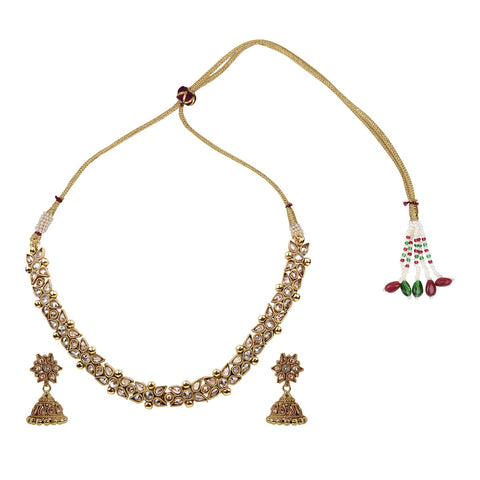 Gold Finish Single Polki Choker Set - The Ethnic Fix - Dubai - UAE