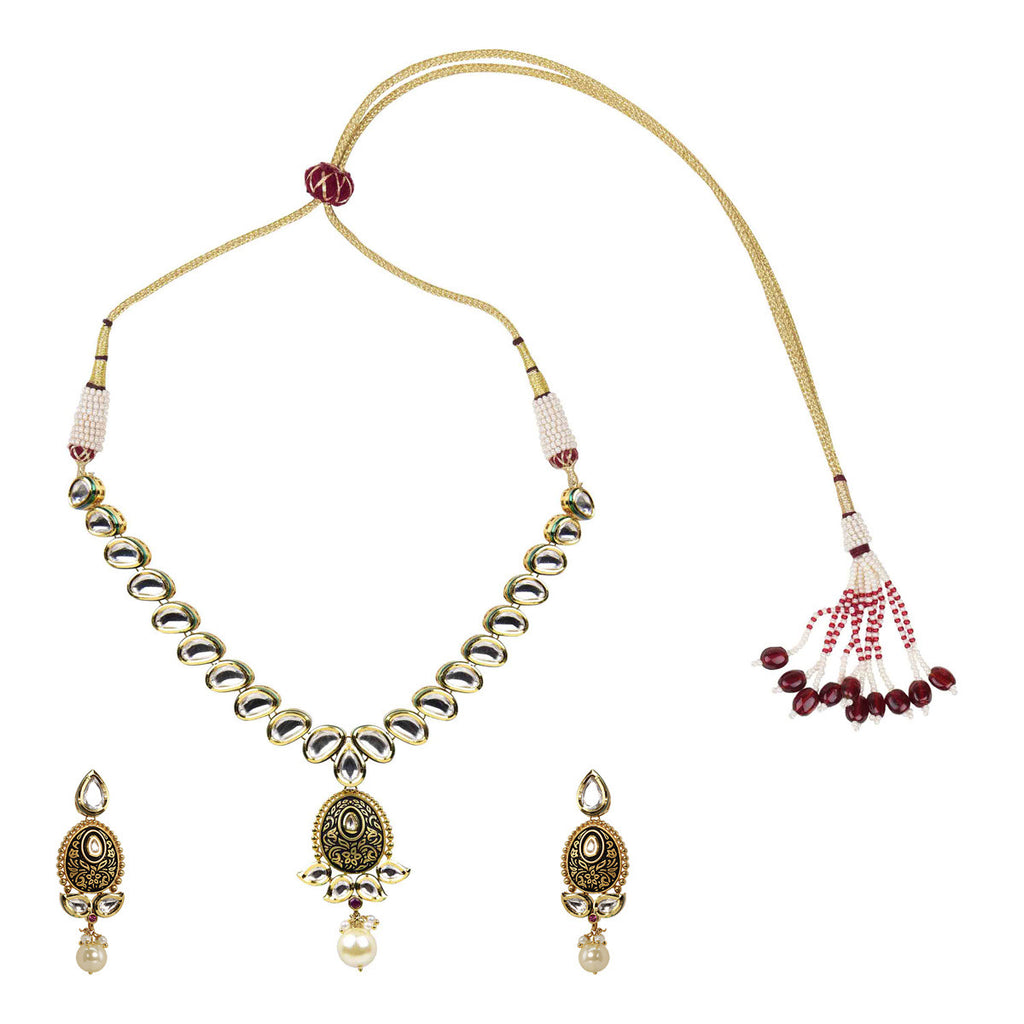 Gold Finish One liner Kundan with Antique Finish Pendant Set - The Ethnic Fix - Dubai - UAE