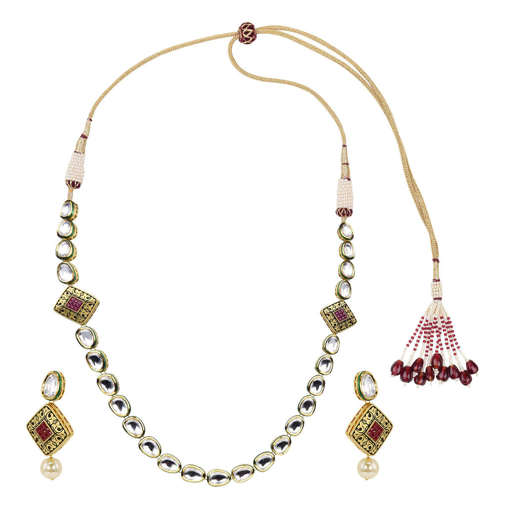 Gold Finish One liner Kundan with Antique Diamond Shape Red Embellishment - The Ethnic Fix - Dubai - UAE