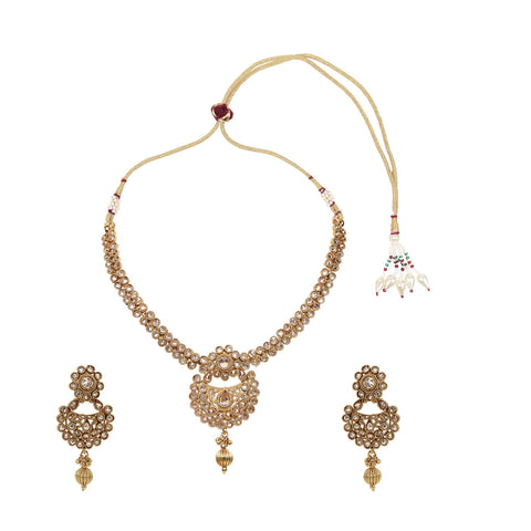 Gold Finish Single Liner Polki Pendant Set - The Ethnic Fix - Dubai - UAE