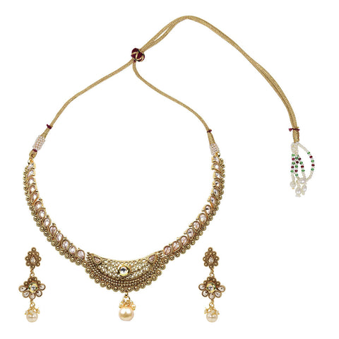 Gold Finish Polki Choker with Chand Pendant - The Ethnic Fix - Dubai - UAE