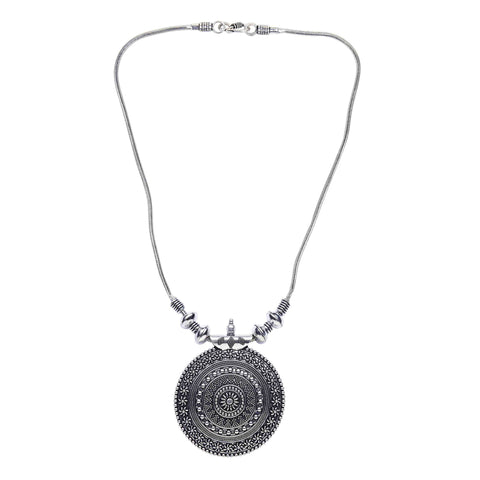 Oxidised Silver Single Round Pendant Chain