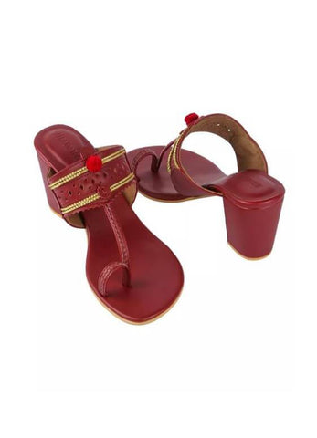 Maroon Kaitoon Heels - The Ethnic Fix - Dubai - UAE