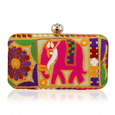 Multicolor Elephant Thread Embroidered Box Clutch - The Ethnic Fix - Dubai - UAE