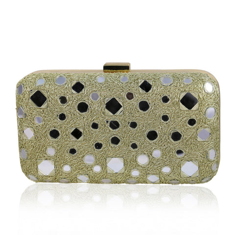 Beige Mirror Work Clutch - The Ethnic Fix - Dubai - UAE