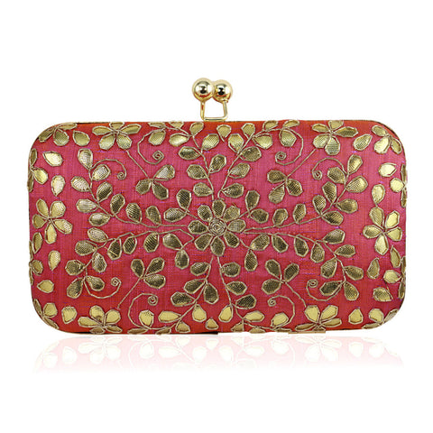Pink Clutch with Gota Leaf Work - The Ethnic Fix - Dubai - UAE
