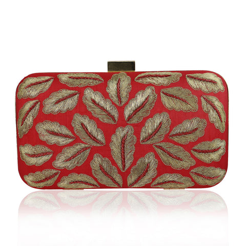 Red Golden Leaf Zardozi Clutch - The Ethnic Fix - Dubai - UAE