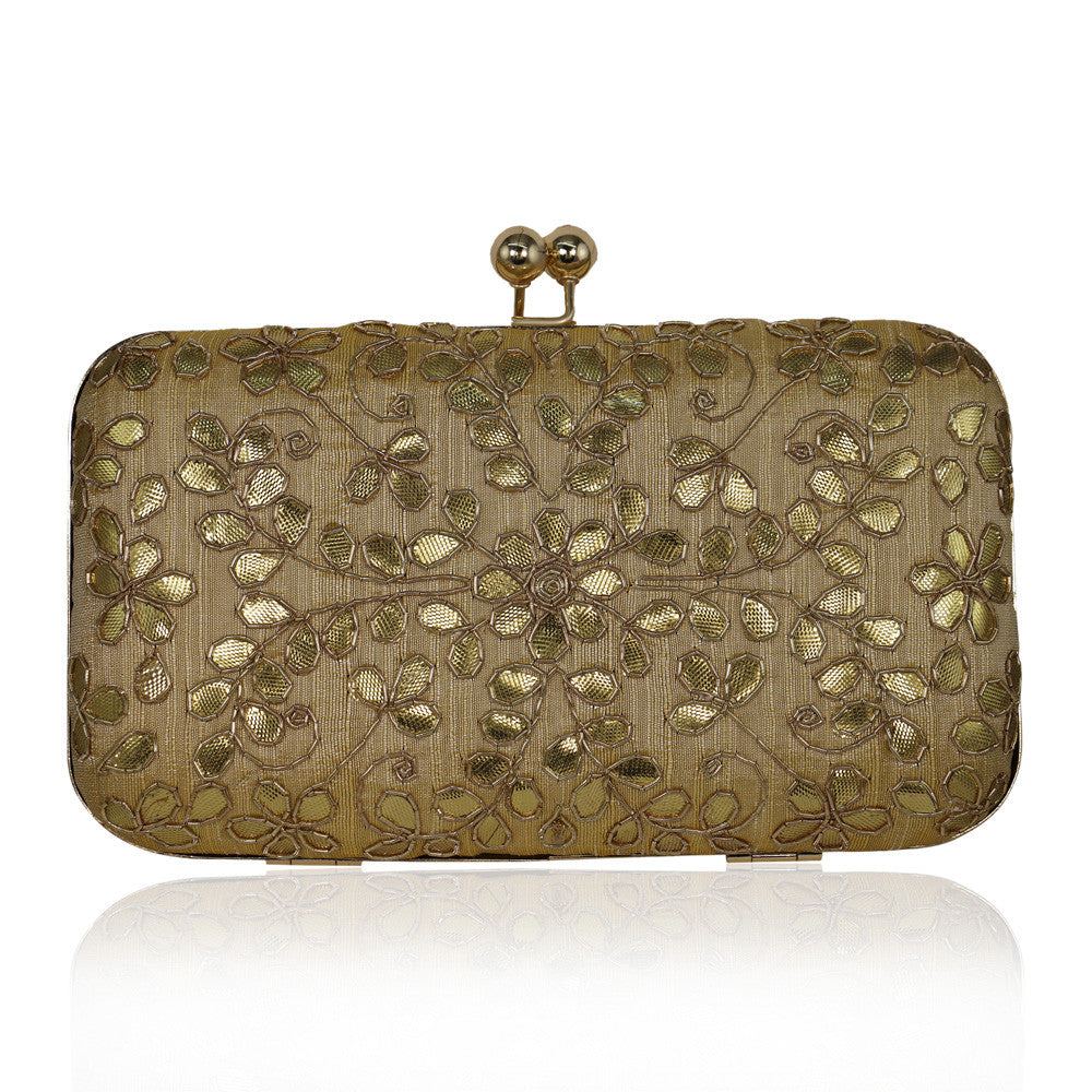 Beige Clutch with Gota Leaf Work - The Ethnic Fix - Dubai - UAE