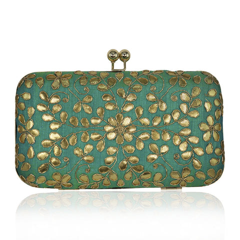 Mint Green Clutch with Gota Leaf Work - The Ethnic Fix - Dubai - UAE