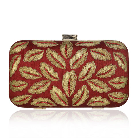 Maroon Golden Leaf Zardozi Clutch - The Ethnic Fix - Dubai - UAE
