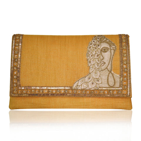 Buddha Inspired Sequins Orange Jute Envelope Clutch - The Ethnic Fix - Dubai - UAE