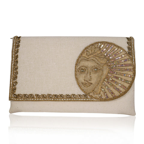 Buddha Inspired Sequins Off-White Jute Envelope Clutch - The Ethnic Fix - Dubai - UAE