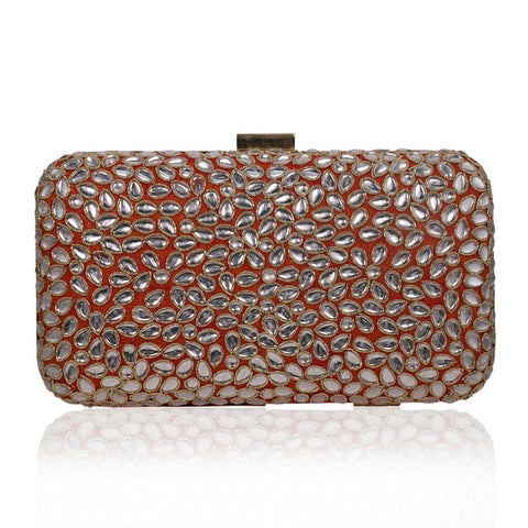 Orange Kundan Stone Work Clutch - The Ethnic Fix - Dubai - UAE