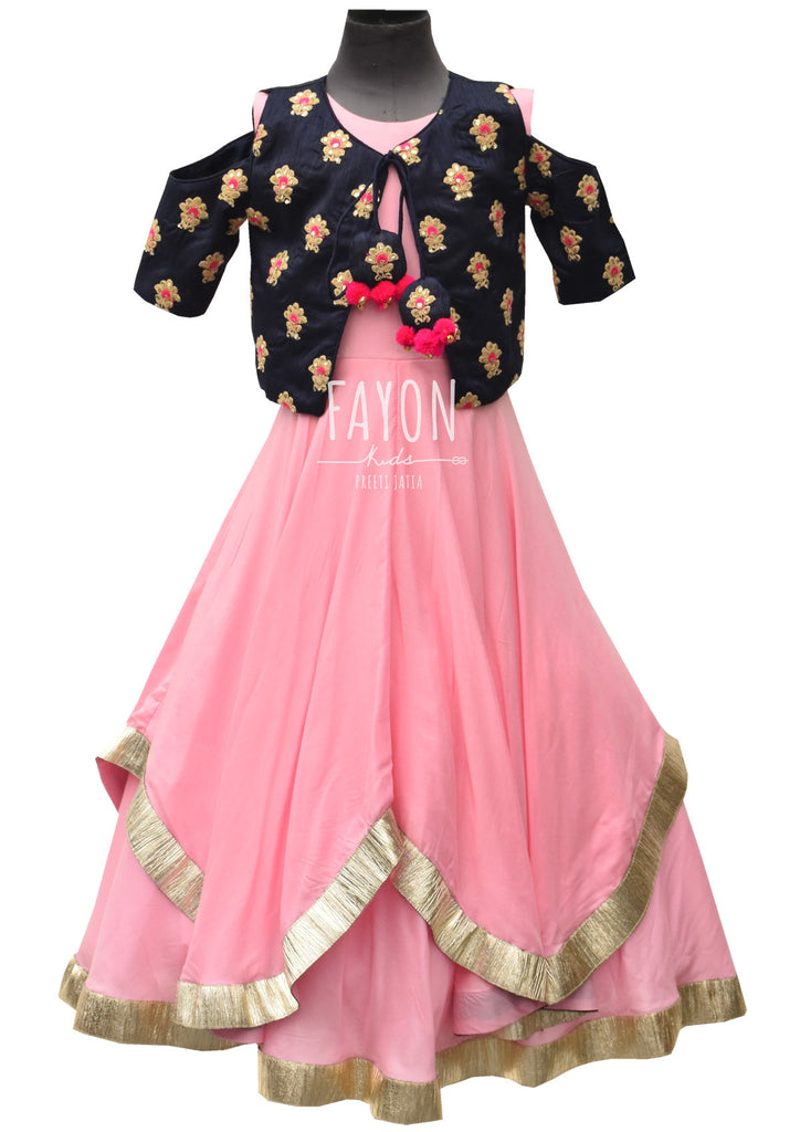 Pink Anarkali Dress with Blue Embroidery Jacket - The Ethnic Fix - Dubai - UAE