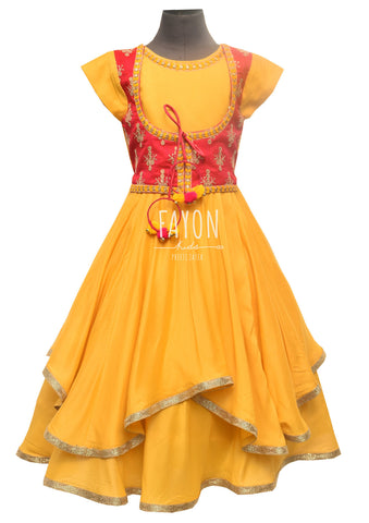 Mustard Yellow Anarkali Dress with Red Embroidery Jacket - The Ethnic Fix - Dubai - UAE
