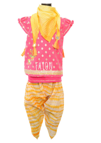 Pink Foil Print Kurti with Yellow Tie & Die Dhoti - The Ethnic Fix - Dubai - UAE