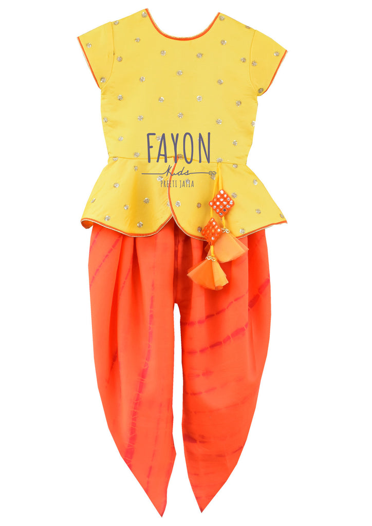 Yellow Embroidery Peplum Choli with Orange Dhoti - The Ethnic Fix - Dubai - UAE