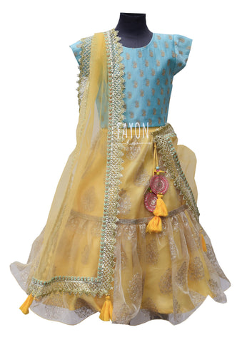 Blue Embroidery Choli with Yellow Organza Lehenga - The Ethnic Fix - Dubai - UAE