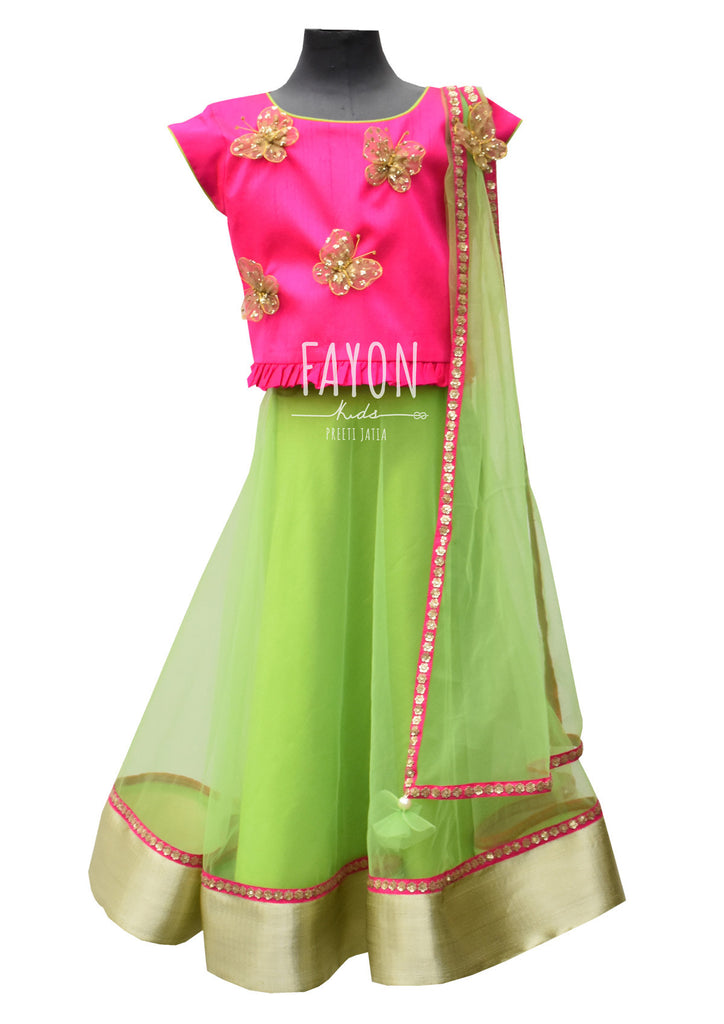 Pink Choli with Green Lehenga - The Ethnic Fix - Dubai - UAE