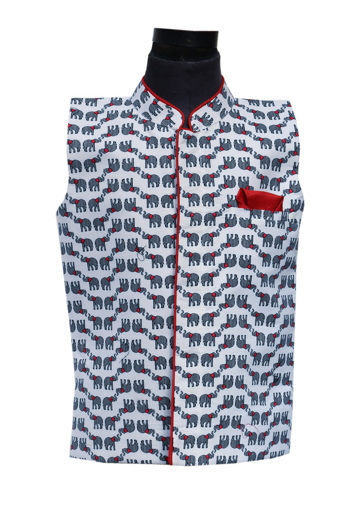 Elephant Print Nehru Jacket - The Ethnic Fix - Dubai - UAE