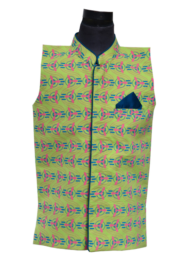 Fan Print Nehru Jacket - The Ethnic Fix - Dubai - UAE