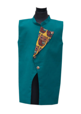 Blue Linen Nehru Jacket with Printed Flip over - The Ethnic Fix - Dubai - UAE