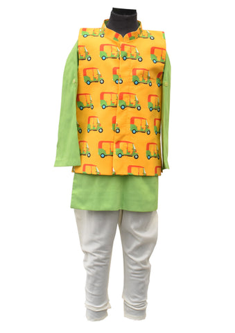 Auto Print Nehru Jacket Set - The Ethnic Fix - Dubai - UAE