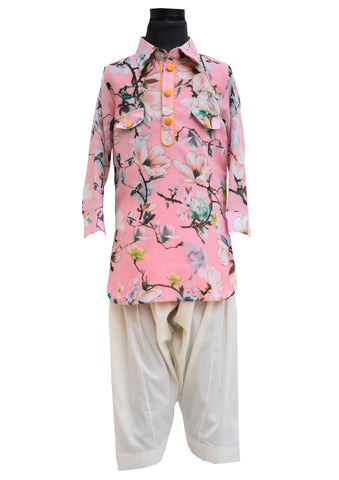 Pink Printed Pathani Set - The Ethnic Fix - Dubai - UAE