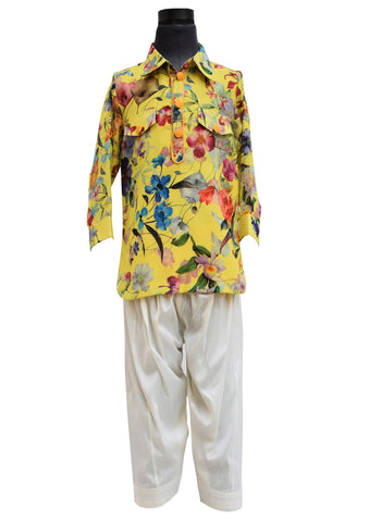 Yellow Printed Pathani Set - The Ethnic Fix - Dubai - UAE