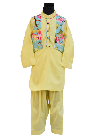 Yellow Pathani Set with Attached Jacket - The Ethnic Fix - Dubai - UAE
