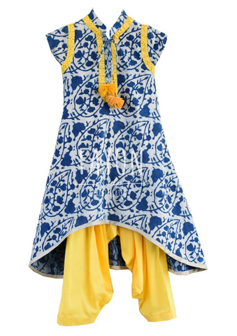 Indigo Print Cotton Tie & Die Kurta Set - The Ethnic Fix - Dubai - UAE