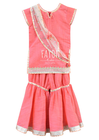 Peach Kurti with Peach Sharara - The Ethnic Fix - Dubai - UAE