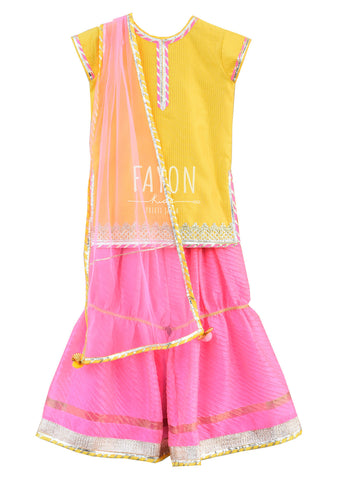 Yellow Kurti with Pink Sharara - The Ethnic Fix - Dubai - UAE